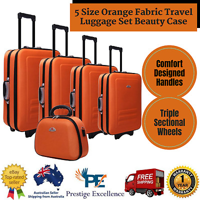 New 5 Size Orange Fabric Travel Luggage Set Beauty Case Trolley Vacation Tourist