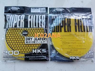 UK STOCK- HKS FILTER 200mm POWER FLOW AIR FILTER RELOADED REPLACEMENT YELLOW EVO