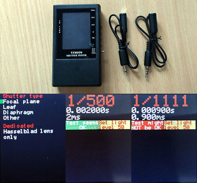 Camera shutter tester for shutter speed up to 1/8000th with light source