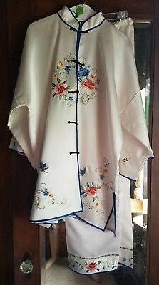 Vintage Chinese Embroidered Silk Pajamas Lotus & Butterfly Pants & Shirt