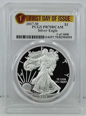 2017-W $1 American Silver Eagle Coin PCGS PR70DCAM First Day Issue - LOW MINTAGE