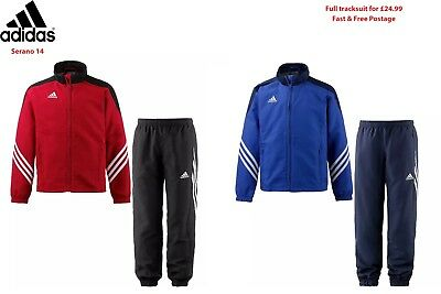 Adidas Kids Boys Football Jogging Top Track suit Bottoms in Red Blue Black 5-16