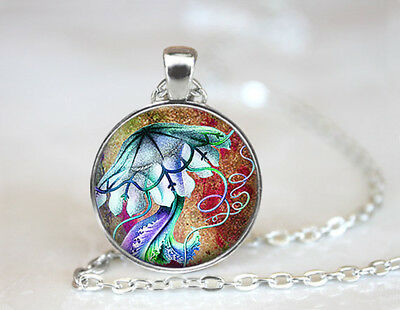 Vintage Psychedelic Jellyfish Dome Tibetan silver Glass Chain Pendant Necklace