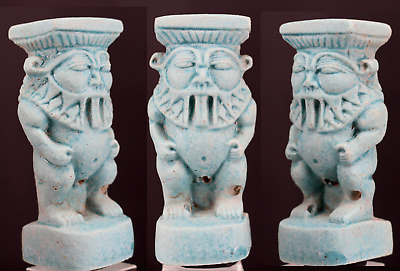 Egyptian blue faience Bes statue 7,6 cm.