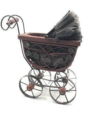"""Vintage Miniature 12"""" Tall Wrought Iron/Bentwood Baby Carriage #40673"""