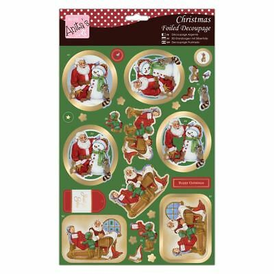 Do-Crafts Anita Christmas Foiled Decoupage -Santa Gets A Gift for cards/craft