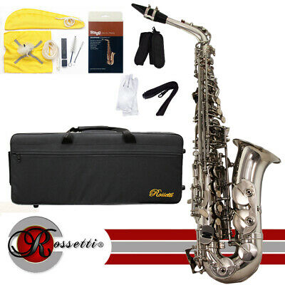 Rossetti 1157-N Eb Nickel Brass Student Alto Saxophone w/ Case & Cleaning Kit