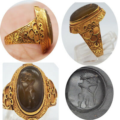 Unique Rare Ancient Greek Emperor Agate Solid 22K Gold Ring #SH1130