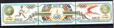 Niue (1786) 1992 Olympic Games, Barcelona strip set Lightly mounted on 1