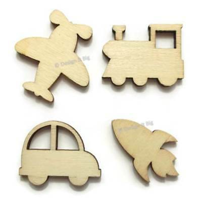 Cars Planes Trains Rockets Small Blank Wooden Craft Embellishment Shapes Plywood