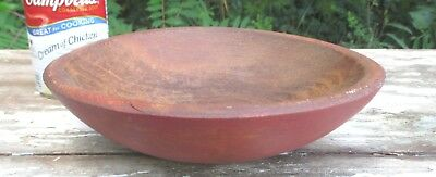 Antique Primitive RED WASH CHILD'S BUTTER BOWL Hand Turned Solid ROCK MAPLE