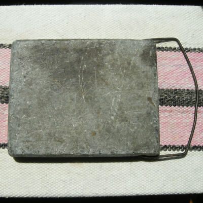 Antique Warming Stone Bed or Buggy Warmer Heavy Soapstone Block Metal Handle