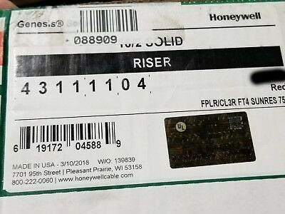 Honeywell Genesis Cable 4311 16/2C Solid UnShielded Riser Fire Alarm Wire/100ft