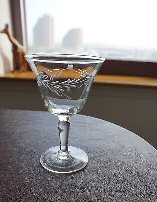cut crystal vtg english glass stemware lflower, leaves and dots - paper thin