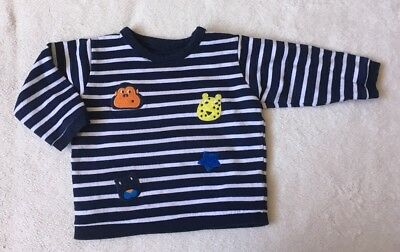 ***M&S baby boys Badge navy striped sweat top jumper 9-12 months***
