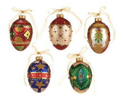 Hand Painted Glass Egg-Shaped 5 Pc Ornament Set In Keepsake Boxes By Valerie