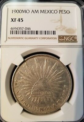 1900 Mo AM MEXICO UN PESO NGC XF 45 GREAT DETAIL MEXICO CITY MINT