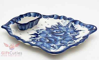Gzhel Porcelain sushi serving plate platter dish Hand-painted Author's work