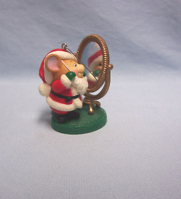 "Avon Vintage Christmas Ornament 1982 Santa Mouse Looking in Mirror 3"" Tall"