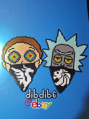 Rick and Morty kandi perler necklace set rave EDC PLUR illenium bead seven lions