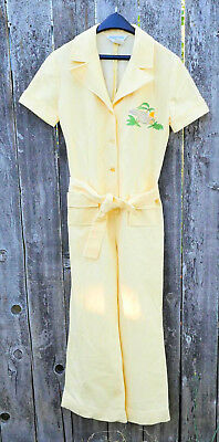 Vintage 70s Short Sleeve Belted Tie Waist Wide Leg Jumpsuit TROPICAL romper M L