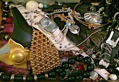 VINTAGE NOW ESTATE JUNK DR LBS JEWELRY LOT Wear Repair LIZ CLAIBORNE Pin WATCH +