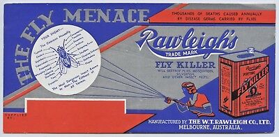 1950's Vintage Blotter Australian Rawleigh's Fly Insect Killer Melbourne Vic O36