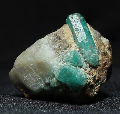 Emerald Crystals in Matrix from Muzo Mine, Colombia (Colombian emeralds)