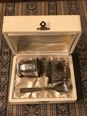 Silver Cup, Spoon And Napkin Ring Set (May Be For Christening)