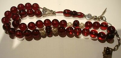 Antique ottoman cherry amber bakelite faturan  tested  islamic  prayer beads !!!