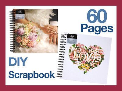 60page Med Vintage DIY Scrapbook Album Wedding Photo Memory Craft Book Hardcover