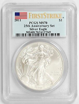 2011 $1 Silver Eagle PCGS MS70 First Strike - 25th Anniversary Set - FLAG LABEL