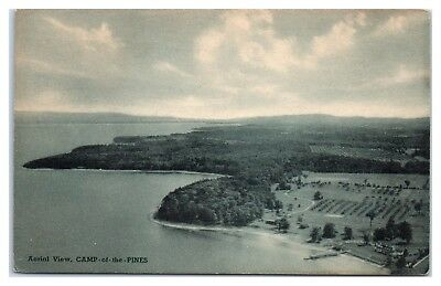 1951 Aerial View of Camp-of-the Pines, Willsboro, NY Postcard