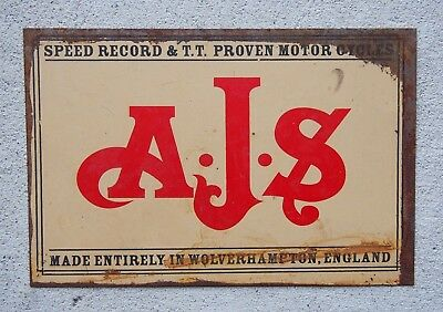 Retro Tin Sign - Speed Record & T.T. Proven Motor Cycles, A.J.S. - 30cm x 20cm