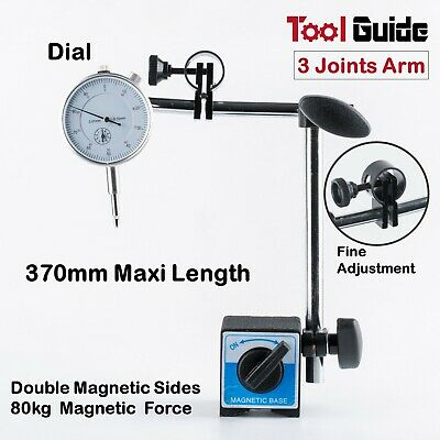 0-10mm Dial Indicator Gauge Magnetic Base Holder, 3 Joint  Arm + Fine Adjustment