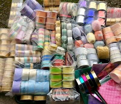 200 Job-Lot Items Fabric Ribbons Cords Gift & Craft Items Party Bags Boxes Mixed