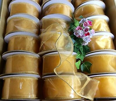 25 Rolls Gold Wired Beaded Ribbons. Job Lot £1 Line. Gifts, Crafts All Occasions