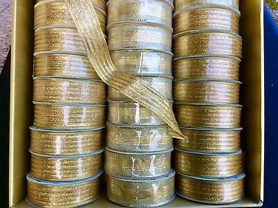 20 Rolls Gold Wired Ribbons. Job Lot £1 Line. Gifts, Crafts All Occasions