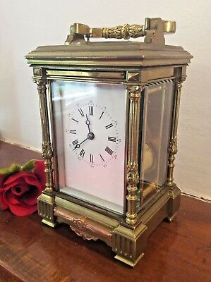 French Gilt Repeating Carriage Clock c1880 Fully Working