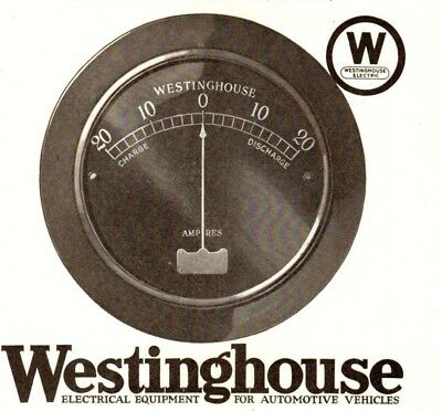 1920 ad Vintage Automobile Car Part Westinghouse ammeter Battery Gauge Charger