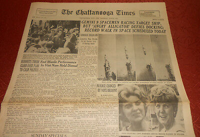 Gemini 8 Attempted Docking June 4, 1966 Chattanooga Times Newspaper