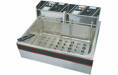 5KW Commercial Electric Countertop Deep Fryer Fish&Chip 1-Tank, 2-Basket 22L sd