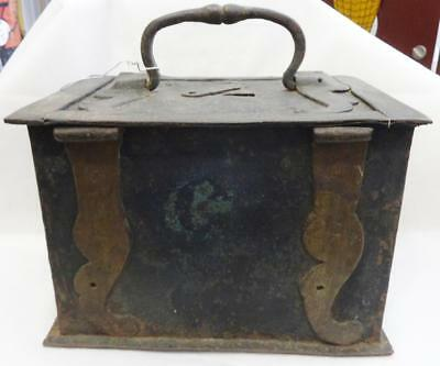 Antique 18TH Century Hand Wrought & Cast Iron Strong Lock Box w/Key WOW!