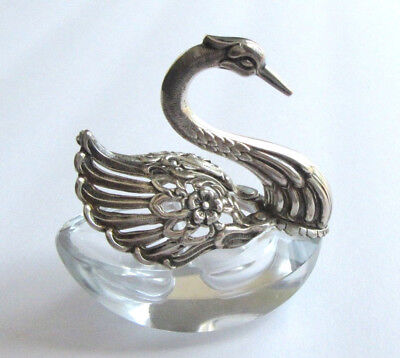 Vintage Swan Master Salt Figural Sterling Silver & Crystal Pierced Movable Wings