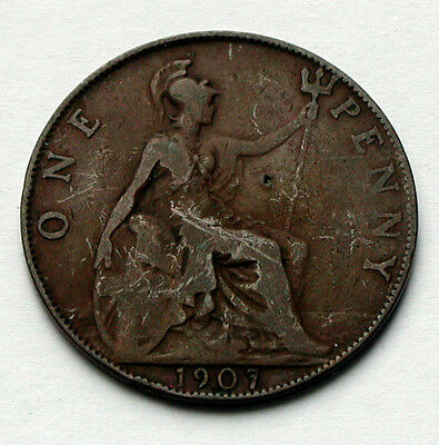 1907 UK (Great Britain) Edward VII Coin - ONE PENNY (-/1) - dig