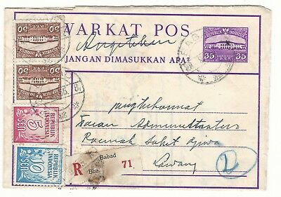 P24  netherland indies indonesia stationery ps uprated registered airletter a