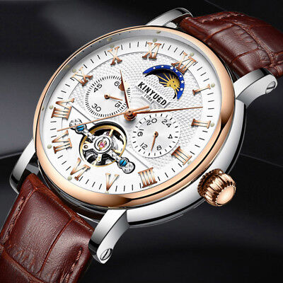KINYUED JYD-J029 Moon Phase Automatic Mechanical Watch Leather Strap Men Wrist W