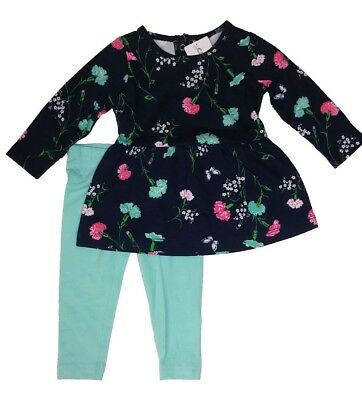 Carter's Baby Girl 2Pc Floral L/S Tunic Top Mint Green Leggings Set 12M Outfit