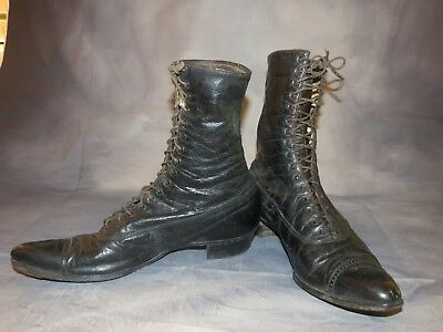 Antique 1897 Womens Victorian Black Leather Boots Granny Sunday Go Meeting Boots