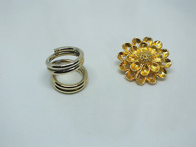 Collectible Scarf Clip Set 2 Gold Tone Matte Finish Flower & Double Ring 1 1/4 &